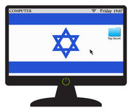 Israel Computer Screen With On knapp Arkivfoto