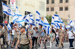 Israel day parade 2011. Boys and girls scouts marching with Royalty Free Stock Photography