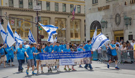 Israel Day Parade. New York Celebrates the Israel Day Parade - marchers are parading down the city's most famous street — Fifth Avenue, New York stock photos