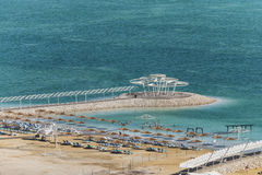 Israel. Dead sea. Beach. There are many official beaches along the shores of the Dead Sea which offer lifeguard service for safe swimming stock photo
