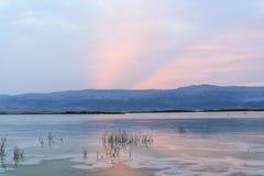 Israel. Dead sea. Dawn. Sunrise. Israel. Dead sea. Beach. Ein Bokek zone. Crystals of salt royalty free stock image