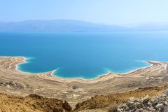 Israel Dead sea. View over the Dead Sea with its erratic beaches from a high point of view. The whole played in the past, but also. Still plays a major role in royalty free stock photography
