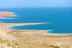Israel Dead sea. View over the Dead Sea with its erratic beaches from a high point of view. The whole played in the past, but also. Still plays a major role in royalty free stock photos