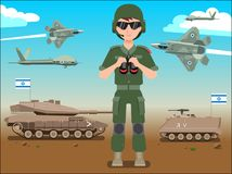 Israel defense forces army banner or poster. IDF soldier also battle tanks & jets plane in a Israel desert stock illustration