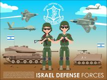 Israel defense forces army banner or poster. IDF soldiers also battle tanks & jets plane in a Israel desert Royalty Free Stock Photo