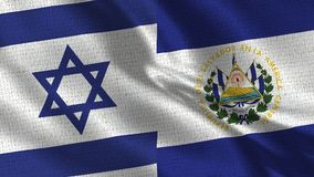 Israel and El Salvador Flag - Two Flags Together. Realistic wave with flags stock images