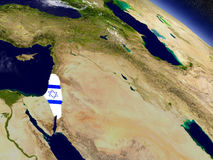Israel with embedded flag on Earth Royalty Free Stock Photo