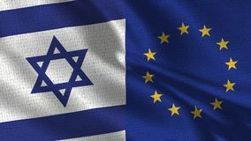 Israel and European Union Flag - Two Flags Together. Realistic wave with flags stock photo