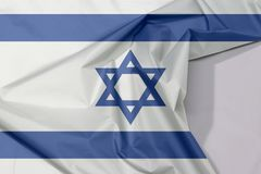 Israel fabric flag crepe and crease with white space. stock photo