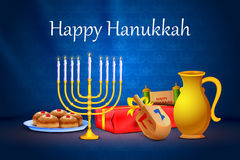 Israel festival Happy Hanukkah background. Vector illustration of menorah and gift in Israel festival Happy Hanukkah background Royalty Free Stock Photo