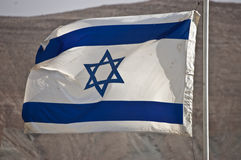 Israel Flag. On backdrop of mountain stock photography