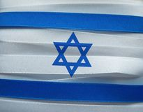 Israel flag or banner. Made with blue and white ribbons royalty free stock image