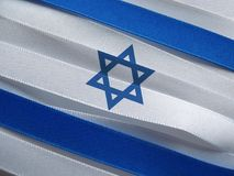Israel flag or banner. Made with blue and white ribbons royalty free stock photo