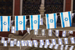 Israel flag chains. In Brasov, Romania stock photos