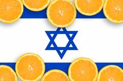 Israel flag in citrus fruit slices horizontal frame. Israel flag in horizontal frame of orange citrus fruit slices. Concept of growing as well as import and stock illustration