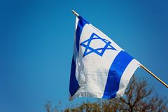 Independence Day, Israel flag flapping in the wind stock photo
