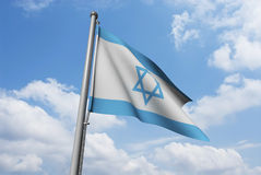 Israel Flag with Clouds Stock Photo