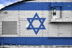 Free Israel Flag Depicted On Side Part Of Military Armored Tank Closeup. Army Forces Conceptual Background Royalty Free Stock Image - 165882856