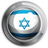 Israel flag design on round badge Royalty Free Stock Image