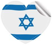 Israel flag design on round sticker Stock Image