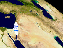 Israel with flag on Earth Stock Photo