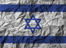 Israel flag with high detail of crumpled paper. 3D illustration Stock Photo