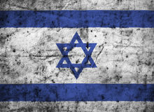 Israel flag with high detail of old dirty crumpled paper. 3D illustration Stock Photography