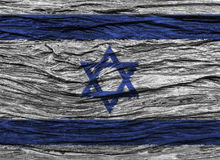 Israel flag with high detail of old wooden background. 3D illustration Royalty Free Stock Photography