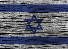 Israel flag with high detail of old wooden background. 3D illustration Royalty Free Stock Photo