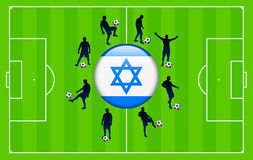 Israel Flag Icon Internet Button with Soccer Match Stock Photography