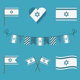 Israel flag icon set in flat design. Israel Independence Day holiday concept Stock Photo