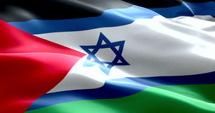 Israel flag inside of palestine flag gaza strip waving texture fabric background, crisis of israel and islam palestine stock video