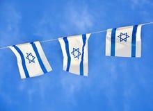 Israel Flag-ketting op Onafhankelijkheidsdag Stock Afbeeldingen