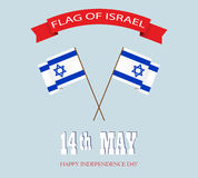 Israel Flag-ONAFHANKELIJKHEIDSdag Stock Foto