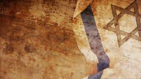 Israel Flag op Hout Stock Afbeeldingen