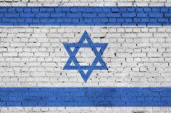 Israel flag is painted onto an old brick wall royalty free stock photography