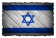 Israel flag. Painted on wooden tag. Isolated on white background royalty free stock images