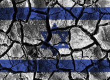 Israel flag painting on high detail cracked ground . Royalty Free Stock Photo