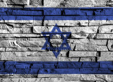 Israel flag painting on high detail of old brick wall . 3D illustration Stock Images