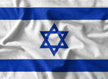 Israel flag painting on high detail of wave cotton fabrics . Stock Photography