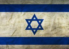 Israel Flag on Paper. Flag on an old Paper Texture Stock Image