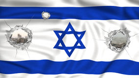Israel flag perforated and cityscape on the background Royalty Free Stock Image