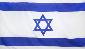 Israel Flag real fabric. Seamless close up Stock Image
