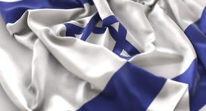 Israel Flag Ruffled Beautifully Waving-Makronahaufnahme-Schuss lizenzfreies stockfoto