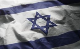 Israel Flag Rumpled Close Up.  stock image