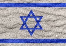 Israel flag on sand. Israel flag on surface of sea sand vector illustration