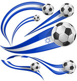 Israel flag set with soccer ball. On white background Royalty Free Stock Photo