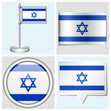 Israel flag - set of sticker, button, label Royalty Free Stock Photo