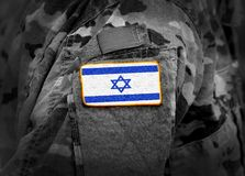 Israel flag on soldiers arm collage.  stock image