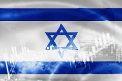 Israel flag, stock market, exchange economy and Trade, oil production, container ship in export and import business and logistics. Middle, background, banner royalty free illustration